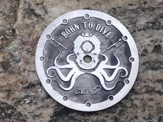 """Octopus""""  Ø 28,5 mm - engraved dial - zifferblatt - clock face - stainless steel"""