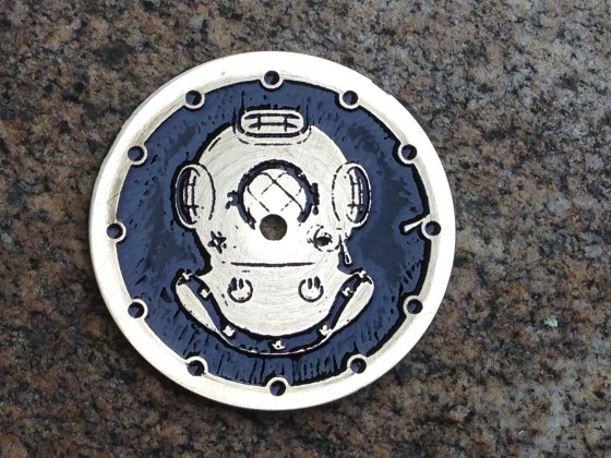 """ Diver helmet""  Ø 28,5 mm - engraved dial for Seiko - zifferblatt - clock face - stainless steel"