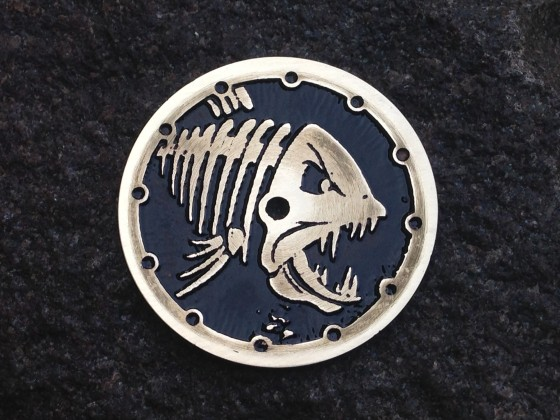 """Piranha""  Ø 28,5 mm - engraved dial - zifferblatt - handmade - stainless steel"
