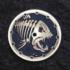 """Piranha""  Ø 28,5 mm - engraved dial - zifferblatt - handmade - stainless steel"